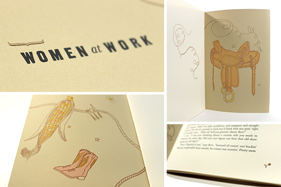 Photo collage of the Red Butte Press edition of Wo/Men at Work, by Matthew Basso and Andrew Farnsworth, Judy Blunt, and Ralph Powell