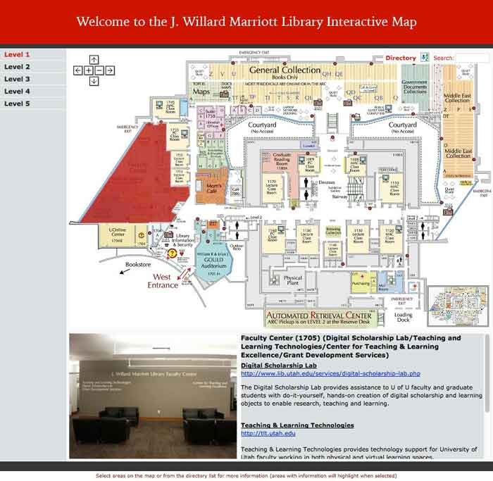 Screenshot representing Marriott Library Interactive Map Project